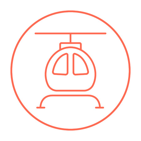 fuselage: Helicopter line icon for web, mobile and infographics. Vector red thin line icon in the circle isolated on white background.