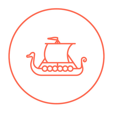 shallop: Old ship line icon for web, mobile and infographics. Vector red thin line icon in the circle isolated on white background.