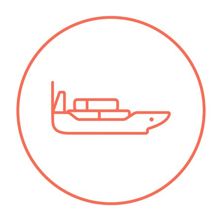Cargo container ship line icon for web, mobile and infographics. Vector red thin line icon in the circle isolated on white background. Illustration