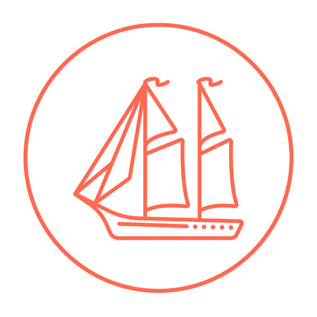 Sailboat line icon for web, mobile and infographics. Vector red thin line icon in the circle isolated on white background.