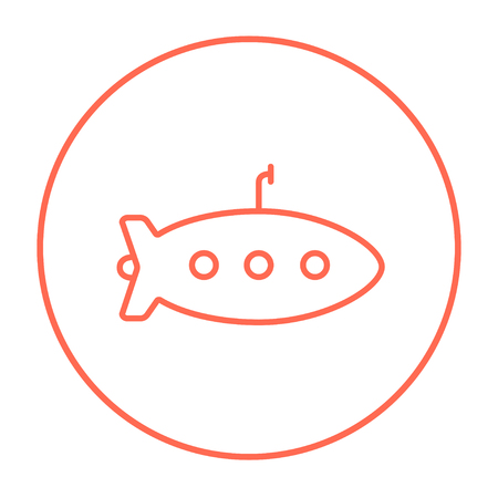 Submarine line icon for web, mobile and infographics. Vector red thin line icon in the circle isolated on white background.