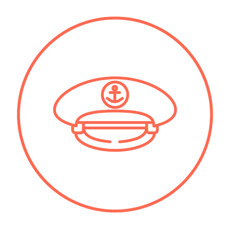 captain cap: Captain peaked cap line icon for web, mobile and infographics. Vector red thin line icon in the circle isolated on white background.