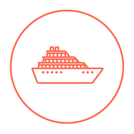 Cruise ship line icon for web, mobile and infographics. Vector red thin line icon in the circle isolated on white background.