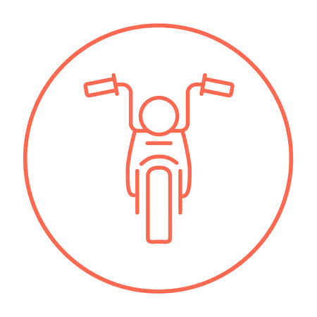Motorcycle line icon for web, mobile and infographics. Vector red thin line icon in the circle isolated on white background. Ilustração