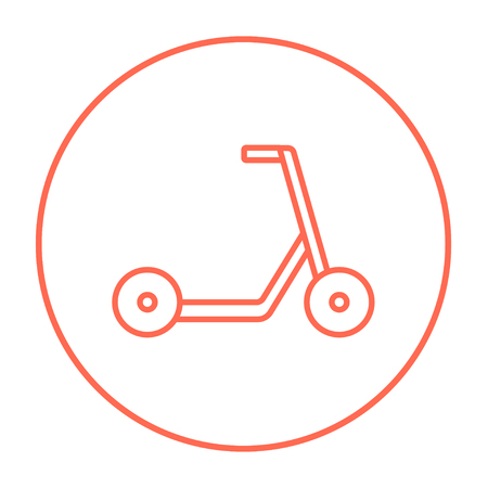 Kick scooter line icon for web, mobile and infographics. Vector red thin line icon in the circle isolated on white background.