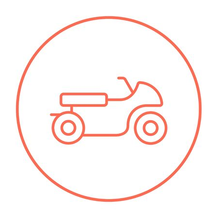 two wheel: Motorcycle line icon for web, mobile and infographics. Vector red thin line icon in the circle isolated on white background. Illustration