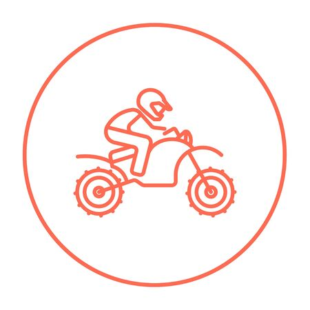 cycle suit: Man riding a motocross bike line icon for web, mobile and infographics. Vector red thin line icon in the circle isolated on white background.