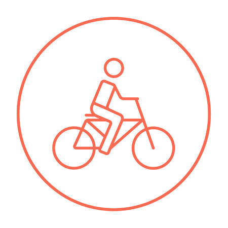 Man riding a bike line icon for web, mobile and infographics. Vector red thin line icon in the circle isolated on white background.