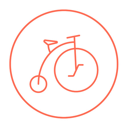 big wheel: Old bicycle with big wheel line icon for web, mobile and infographics. Vector red thin line icon in the circle isolated on white background.