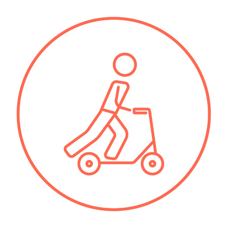 Man riding a kick scooter line icon for web, mobile and infographics. Vector red thin line icon in the circle isolated on white background.