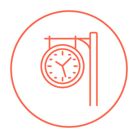 hand rails: Train station clock line icon for web, mobile and infographics. Vector red thin line icon in the circle isolated on white background. Illustration