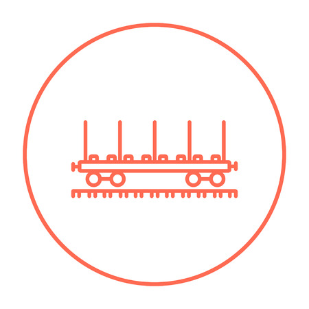 hand rails: Cargo wagon line icon for web, mobile and infographics. Vector red thin line icon in the circle isolated on white background. Illustration