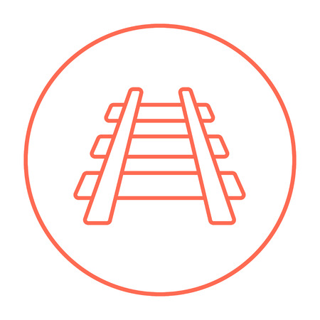 railway track: Railway track line icon for web, mobile and infographics. Vector red thin line icon in the circle isolated on white background.