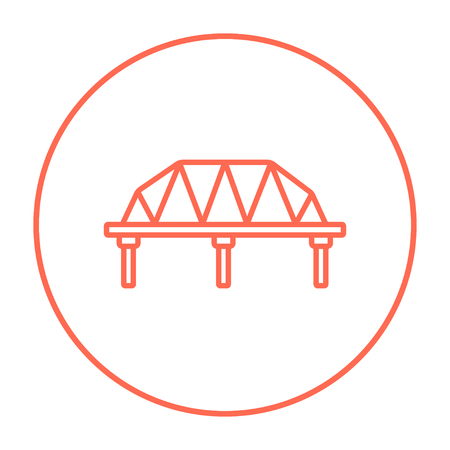 traffic pylon: Rail way bridge line icon for web, mobile and infographics. Vector red thin line icon in the circle isolated on white background.