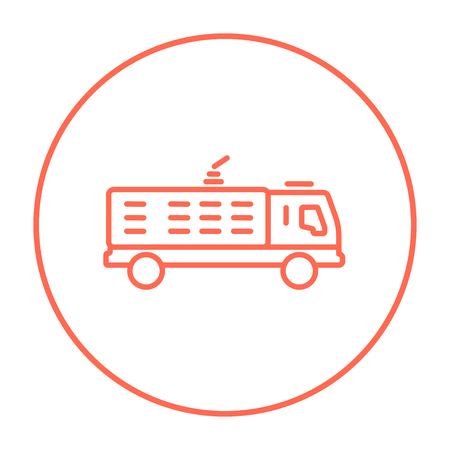 camion: Fire truck line icon for web, mobile and infographics. Vector red thin line icon in the circle isolated on white background.