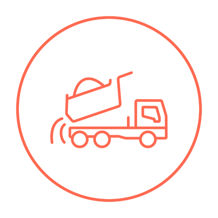 Dump truck line icon for web, mobile and infographics. Vector red thin line icon in the circle isolated on white background.