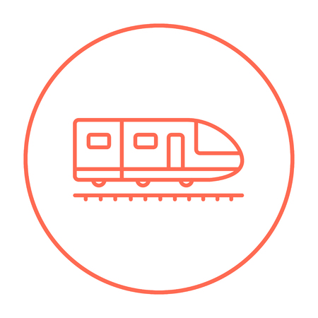 Modern high speed train line icon for web, mobile and infographics. Vector red thin line icon in the circle isolated on white background.