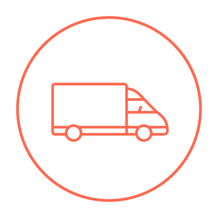 waggon: Delivery truck line icon for web, mobile and infographics. Vector red thin line icon in the circle isolated on white background. Illustration