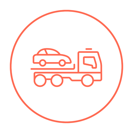 haul: Car towing truck line icon for web, mobile and infographics. Vector red thin line icon in the circle isolated on white background.