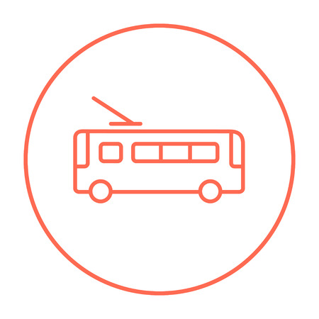 trolleybus: Trolleybus line icon for web, mobile and infographics. Vector red thin line icon in the circle isolated on white background.