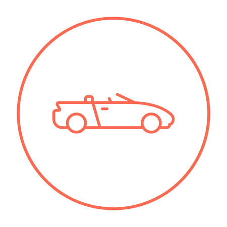 convertible car: Convertible car line icon for web, mobile and infographics. Vector red thin line icon in the circle isolated on white background. Illustration