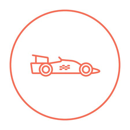 bolide: Race car line icon for web, mobile and infographics. Vector red thin line icon in the circle isolated on white background.