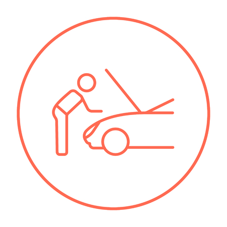 fixing: Man fixing car line icon for web, mobile and infographics. Vector red thin line icon in the circle isolated on white background. Illustration