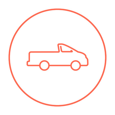 Pick up truck line icon for web, mobile and infographics. Vector red thin line icon in the circle isolated on white background. Illusztráció