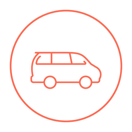 minivan: Minivan line icon for web, mobile and infographics. Vector red thin line icon in the circle isolated on white background.