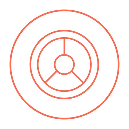 Steering wheel line icon for web, mobile and infographics. Vector red thin line icon in the circle isolated on white background.