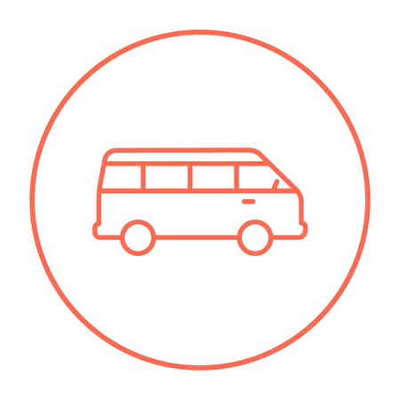 Minibus line icon for web, mobile and infographics. Vector red thin line icon in the circle isolated on white background. Illustration