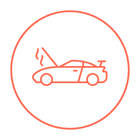 overheat: Broken car with open hood line icon for web, mobile and infographics. Vector red thin line icon in the circle isolated on white background.