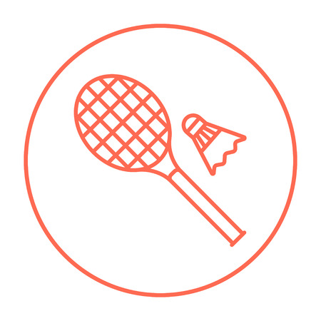 battledore: Shuttlecock and badminton racket line icon for web, mobile and infographics. Vector red thin line icon in the circle isolated on white background. Illustration