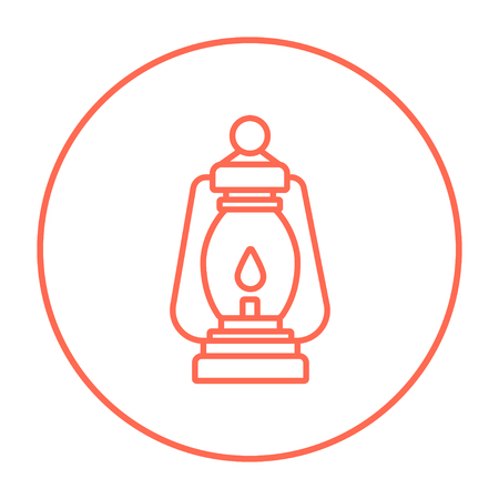 Camping lantern line icon for web, mobile and infographics. Vector red thin line icon in the circle isolated on white background.