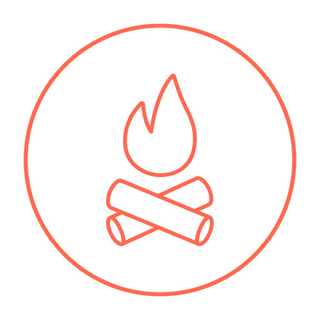 Campfire line icon for web, mobile and infographics. Vector red thin line icon in the circle isolated on white background.