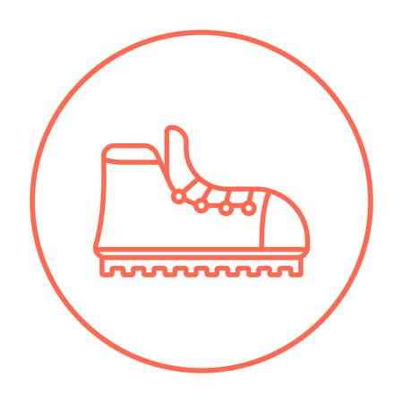 crampons: Hiking boot with crampons line icon for web, mobile and infographics. Vector red thin line icon in the circle isolated on white background.