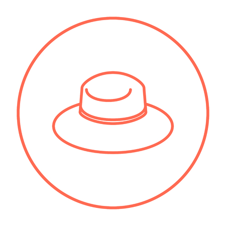 Summer hat line icon for web, mobile and infographics. Vector red thin line icon in the circle isolated on white background. Illusztráció