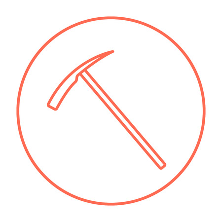 pickaxe: Ice pickaxe line icon for web, mobile and infographics. Vector red thin line icon in the circle isolated on white background. Illustration