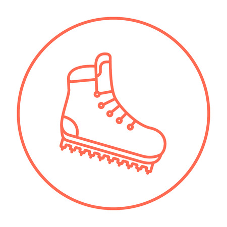 hillwalking: Hiking boot with crampons line icon for web, mobile and infographics. Vector red thin line icon in the circle isolated on white background.