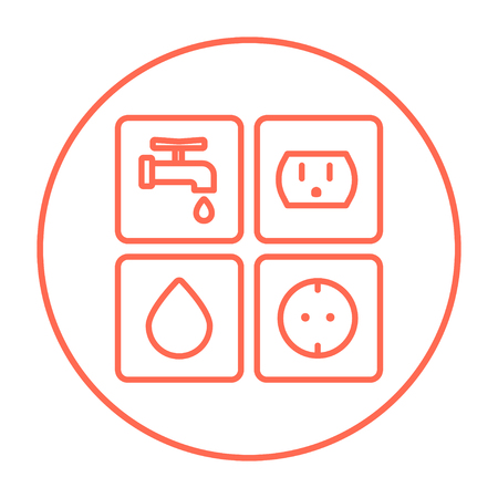 utilities: Utilities signs electricity and water line icon for web, mobile and infographics. Vector red thin line icon in the circle isolated on white background.