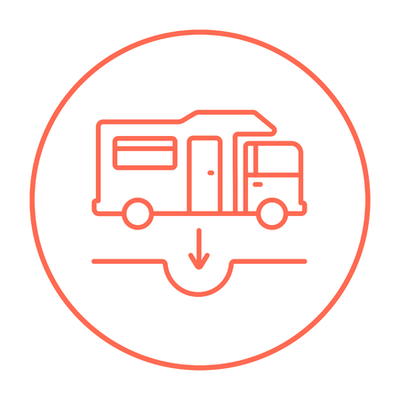 Motorhome and sump line icon for web, mobile and infographics. Vector red thin line icon in the circle isolated on white background.