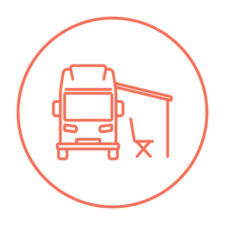 motorhome: Motorhome with tent line icon for web, mobile and infographics. Vector red thin line icon in the circle isolated on white background.