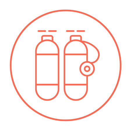 compressed air: Oxygen tank line icon for web, mobile and infographics. Vector red thin line icon in the circle isolated on white background.