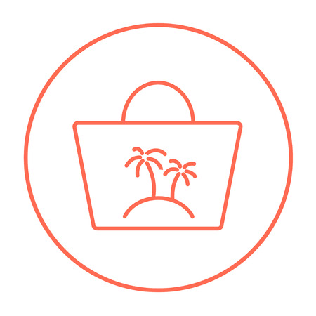 beach bag: Beach bag line icon for web, mobile and infographics. Vector red thin line icon in the circle isolated on white background.