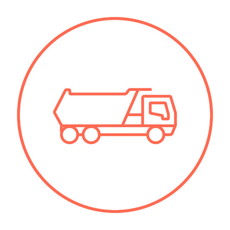 heavy load: Dump truck line icon for web, mobile and infographics. Vector red thin line icon in the circle isolated on white background.