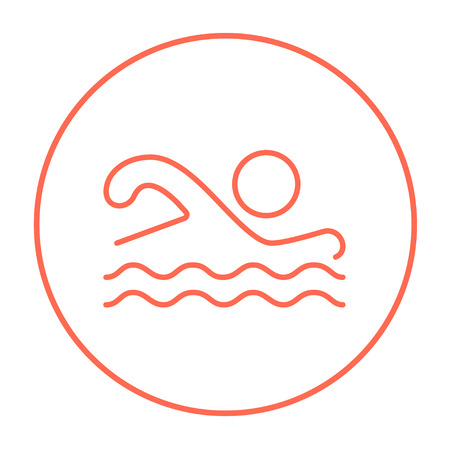 Swimmer line icon for web, mobile and infographics. Vector red thin line icon in the circle isolated on white background. Banco de Imagens - 53709476