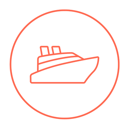 hull: Cruise ship line icon for web, mobile and infographics. Vector red thin line icon in the circle isolated on white background.