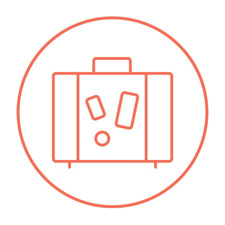 Suitcase line icon for web, mobile and infographics. Vector red thin line icon in the circle isolated on white background. Stock Illustratie