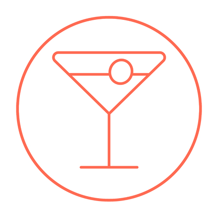 non alcoholic: Cocktail glass line icon for web, mobile and infographics. Vector red thin line icon in the circle isolated on white background.