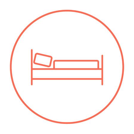 Bed line icon for web, mobile and infographics. Vector red thin line icon in the circle isolated on white background.